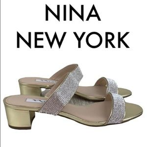 NINA NEW YORK GOLD & RHINESTONE SANDALS SIZE 8.5